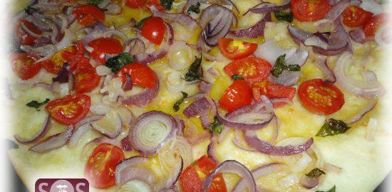 Ricetta Gnocco con Cipolla, Pomodorini e Basilico