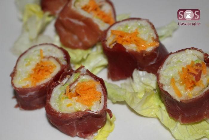Sushi di bresaola e carote